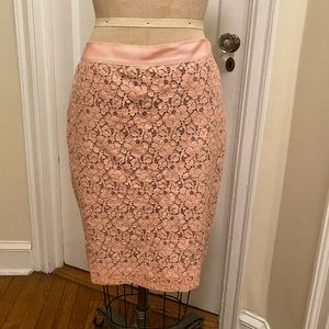 J. Crew Pink and Grey Lace Pencil Skirt Size 6